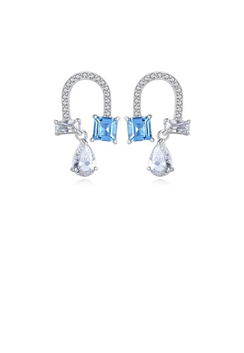 Glamorousky white 925 Sterling Silver Fashion and Elegant U-shaped Earrings with Blue Cubic Zircon 2FAF5ACFDD8E24GS_1
