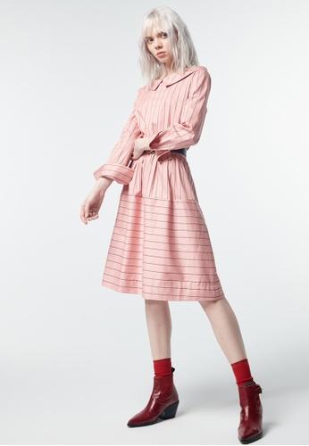 iROO pink Stripes Short Dress 1A6C5AA710E7FEGS_1