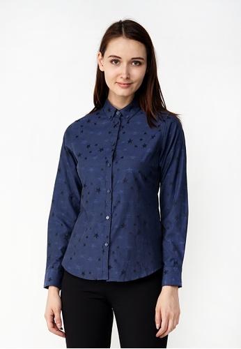 Nicole Exclusives navy Nicole Exclusives Navy Long Sleeve Collared Shirt 40D1BAA4F6B69CGS_1