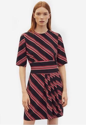 Mango black and multi Cut-Out Striped Dress MA193AA0RQWMMY_1
