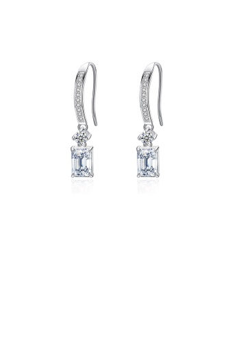 Glamorousky white 925 Sterling Silver Simple Temperament Geometric Square Earrings with Cubic Zirconia 56A04ACCFD3187GS_1