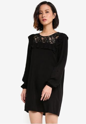 ZALORA black Lace Yoke Long Sleeve Dress 90E14ZZ56C3469GS_1