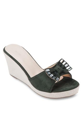 蝴蝶結露趾楔型鞋, 女鞋, 楔形esprit台灣門市涼鞋