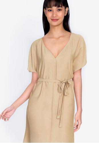 ZALORA BASICS brown Raglan Sleeve Knee Length Dress 7ED68AA6A73D2CGS_1