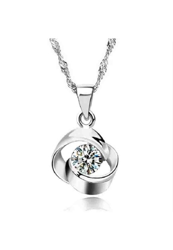 YOUNIQ silver YOUNIQ Hana 925 Sterling Silver Necklace Pendant with Silver Cubic Zirconia YO999AC84DATMY_1