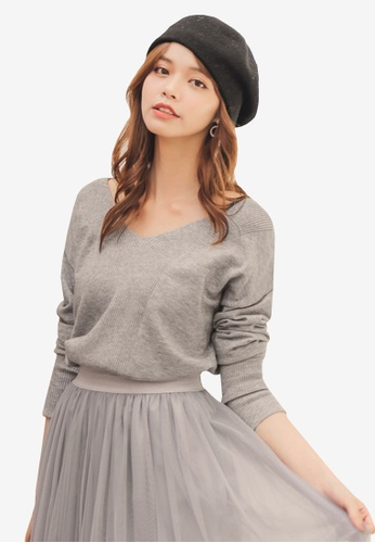 YOCO grey Basic V-Neck Sweater 85399AADDA4106GS_1