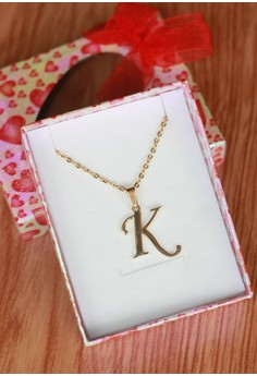 K Cursive Initial Pendant Necklace