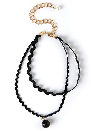 YOUNIQ black YOUNIQ-Basic Korean Double Wavy Pearl Choker (Black) YO999AC37MBEMY_1