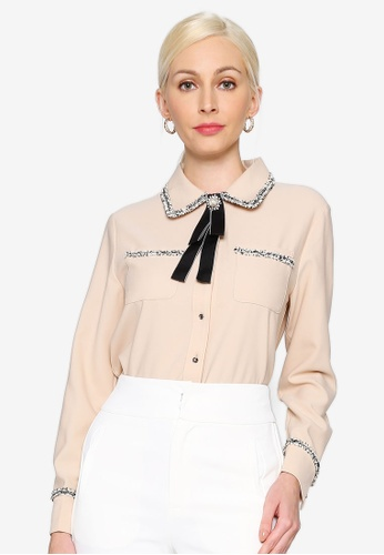 Hopeshow beige Long Sleeve Button Chiffon Blouse with Embroidery CFCC2AA33CD893GS_1