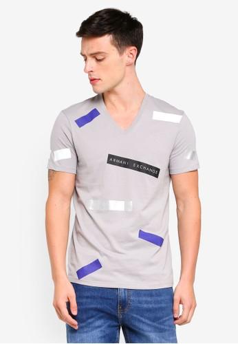 Armani Exchange grey Confetti Logo Crew T-Shirt 44B57AA37C24EEGS_1