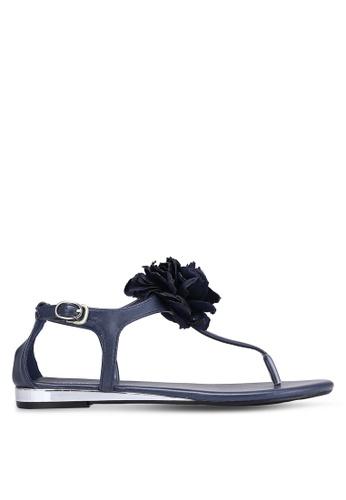 Velvet navy Sandals with Flower Ornament 293ACSHB6A4BABGS_1
