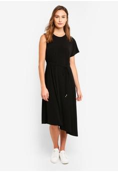 8a995d3525f DKNY black Sleeveless Asymmetric Crew Neck Dress With Side Ruching  EAB2DAAA6E8115GS 1