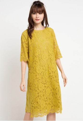 Icons yellow Pleated Lining Lace Dress 2770BAAB4954FBGS_1