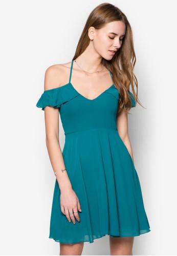 zalora 手錶露肩交叉帶連身裙, 服飾, 洋裝