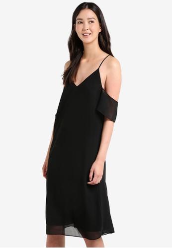 ZALORA black Midi Cold Shoulder Dress 46A57AAC0928A9GS_1