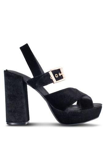 ZALORA black Velvet Strappy Heels 180ABSHB9DEEE8GS_1