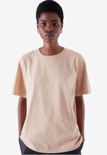 COS beige Curved T-Shirt 00249AA95FCB7BGS_1