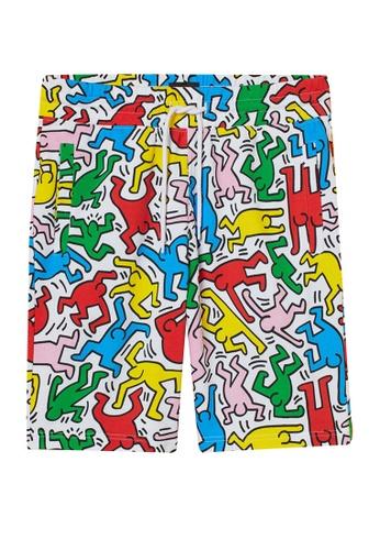 H&M white and multi Patterned Sweatshirt Shorts 64BADAA0CB9585GS_1