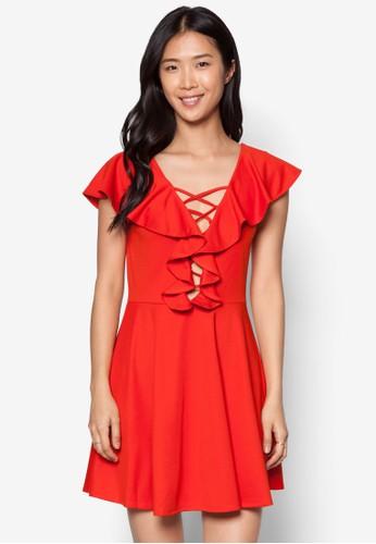 Katesprit hkherine 荷葉垂飾繫帶洋裝, 服飾, 派對洋裝