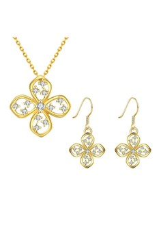 Treasure by B&D S006-A Delicate Flower Necklace & Dangle Earrings Party Jewellery Set