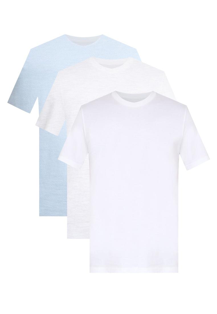 T Pack Neck London Menswear White And Burton Ecru 3 Multi Blue Fog Shirts Crew qZw8RTd