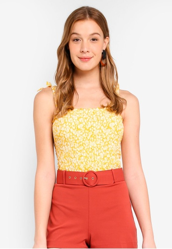 Miss Selfridge yellow Ochre Shirred Tie Top C5D0DAA0C750D6GS_1