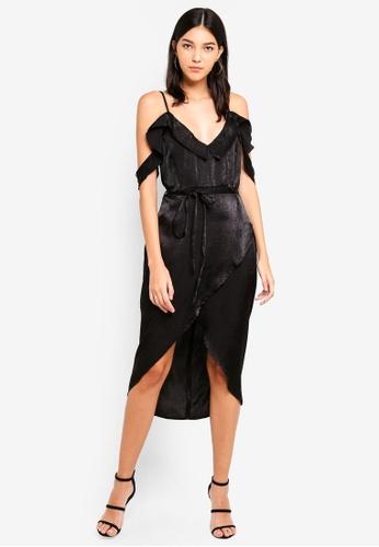 MISSGUIDED black Cold Shoulder Frill Midi Dress C703FAABC78742GS_1