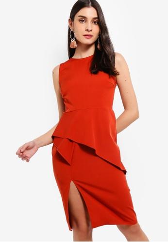 ZALORA 橘色 Asymmetrical 無袖洋裝 592B7AAE01A52DGS_1