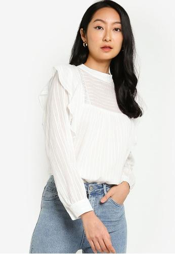 ZALORA BASICS white Ruffle Blouse With Lace Trims 1F12EAA8FA131AGS_1
