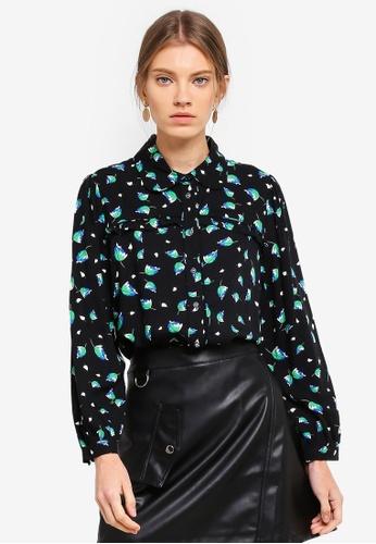 ESPRIT 黑色 滿版印花襯衫 495D0AA0A6E799GS_1