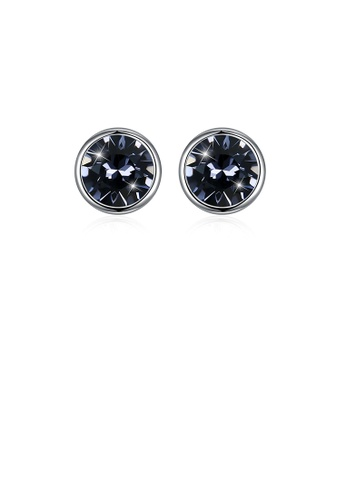 Glamorousky black 925 Sterling Silver Simple Round Stud Earrings with Black Austrian Element Crystal 31DDBAC550F369GS_1