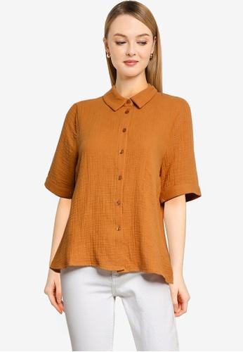 Vero Moda 橘色 Gaselle 短袖襯衫 DC782AAB2C5005GS_1