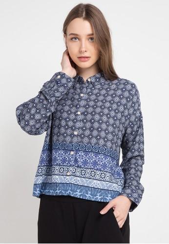 POP U blue Mozaic L/S Oversize Blouse 325E5AA7977555GS_1