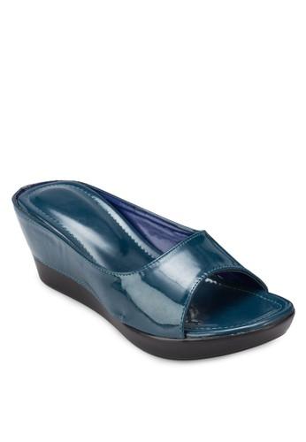 尖沙咀 esprit漆皮厚底楔形涼鞋, 女鞋, 楔形涼鞋