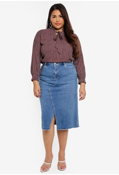 499e88ece46a Violeta by MANGO Plus Size Midi Denim Skirt RM 282.90. Sizes S M