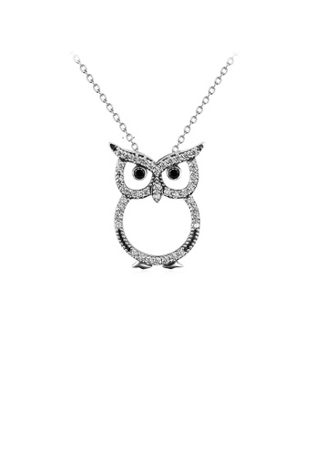 Glamorousky white 925 Sterling Silver Fashion Cute Owl Pendant with Cubic Zirconia and Necklace 7A7F9AC8275FF7GS_1