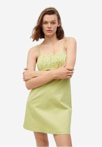 Mango green Pleated Detail Dress CEB98AA75F0450GS_1