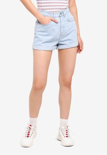 Factorie blue Mom Shorts 39874AAB8B2963GS_1