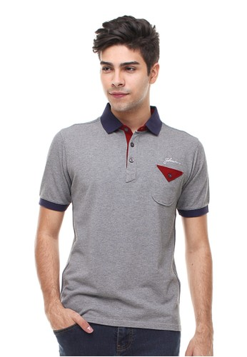 Slim Fit - Polo Casual Active - Motif Warna - Abu