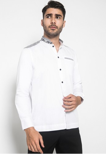 LGS white LGS - Regular Fit - Baju Koko - Kerah Bordir - Motif Kotak - Kantong Satu - Putih A757AAA915FC94GS_1