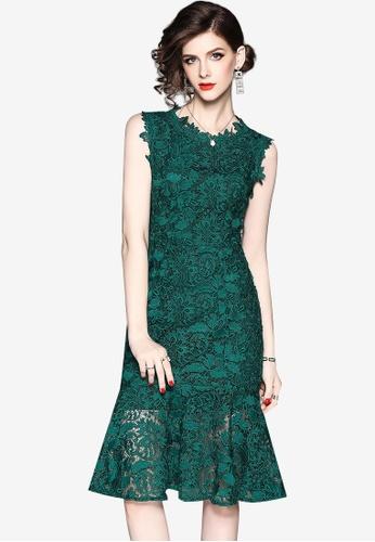 Sunnydaysweety green Lace Mermaid One Piece Dress DCB68AAB928A3BGS_1