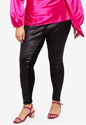 ELVI black Plus Size Frances Wet Look Paneled Jeggings D2073AA7E68558GS_1