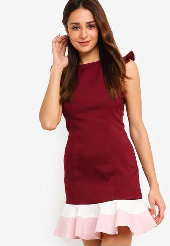 ZALORA red and multi Scoop Neck Fluted Hem Dress 817D5AA8B90C5CGS_1