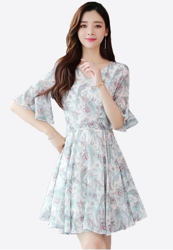 Halo green Floral Printed Chiffon Dress F2C1CAA9E43C88GS_1