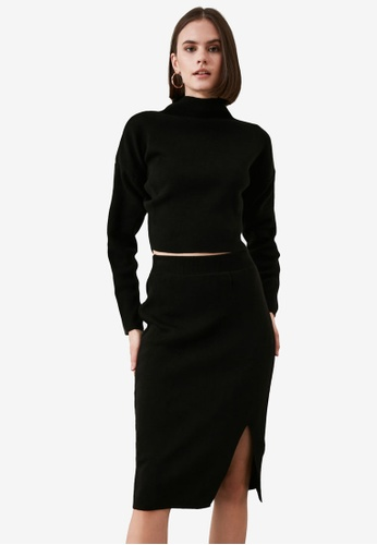 Trendyol black Sweater and Skirt Top-Bottom Set 6E918AA39AC012GS_1
