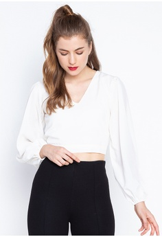 d5514a0dcc8 Kendall + Kylie white Bishop Sleeve Crop Woven Blouse 0BDEFAABB3CD12GS_1
