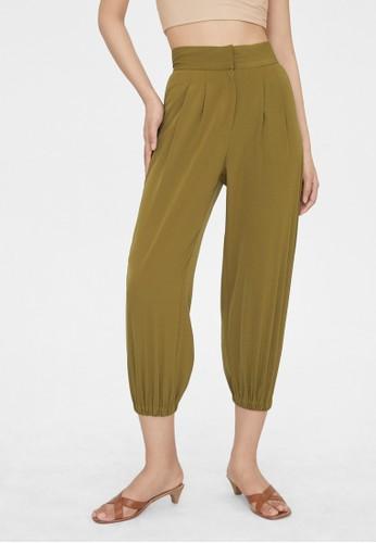 Pomelo green Pleat Tapered Leg Pants - Green 0A5D4AA053B17FGS_1