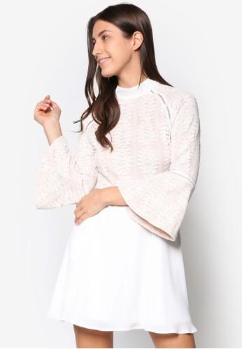 蕾絲喇叭袖洋裝, 服飾, 洋esprit hk store裝