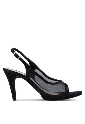 Bata 黑色 透飾繞踝魚口高跟鞋 CC606SHC79F005GS_1