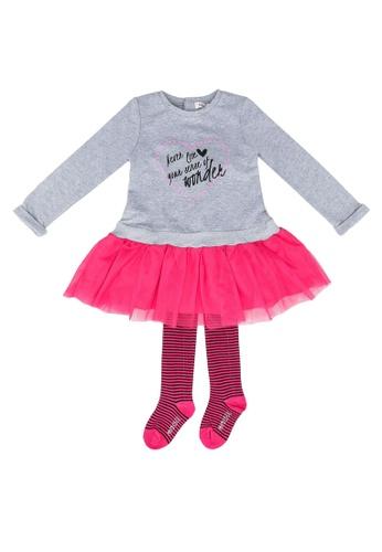 Babybol pink Dress And Tights Set 2DDCDKACFC3431GS_1